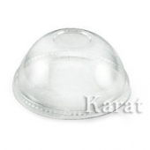 Karat - Cold Cup Dome Lid with Hole, Fits 12-24 oz, Clear PET Plastic