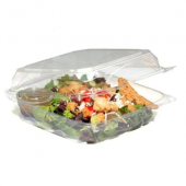 Food Container, 8x8 Clear Hinged Plastic