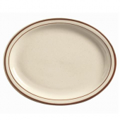 "World Tableware - Desert Sand Platter, 9"" Oval Cream White Stoneware"