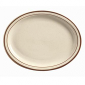 "World Tableware - Desert Sand Platter, 13.25"" Oval Cream White Stoneware"