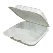 Compostable Hinged Container, 8x8 with 3 Compartments