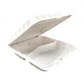 Compostable Hinged Container, 9x9 with 3 Compartments
