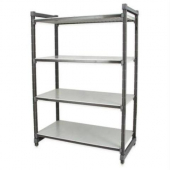 Cambro - Camshelving Elements Series Stationary Starter Unit with 4 Solid Shelves, 24Lx18Dx64H Brush