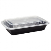 Karat - Food Container Combo, 28 oz PP Black Plastic Base with Clear Plastic Lid
