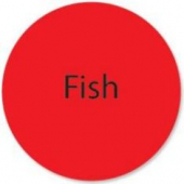 "Label, 'Fish', 1"" Radiant Red Circle"