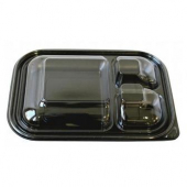 Food Container Base, 3-Compartment Black PP Plastic