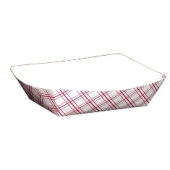 Food Tray, Red Plaid #100, 6.5x4.375x1.5
