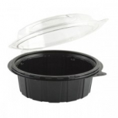 "Anchor - Gourmet Classics Container, 6"" Clear Dome with Black Base Hinged Deep Clamshell"
