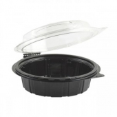 "Anchor - Gourmet Classics Container, 6"" Clear Dome with Black Base Hinged Shallow Clamshell"