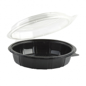 "Anchor - Gourmet Classics Container, 9"" Clear Dome with Black Base Hinged Deep Clamshell"