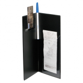 "Guest Check Holder, padded black leatherette finish with gold ""Thank You"" imprint"