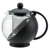 Winco - Glass Teapot with Infuser Basket, 25 oz with Black Base
