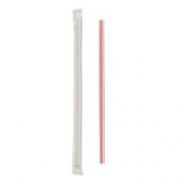 "Straw, 7.75"" Giant White Straw with Red Stripe, Paper Wrapped"