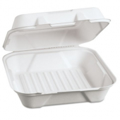 Genpak - Harvest Fiber Container, Large Hinged, 9x9x3 Natural White Compostable