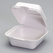 Genpak - Harvest Fiber Container, Medium Hinged, 6x6x3 Natural White Compostable