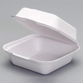 "Genpak - Sandwich Container, 7"" Large Hinged Compostable, 5.9x6.1x3 Natural White"