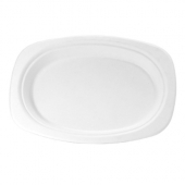 Genpak - Harvest Fiber Platter, Medium Oval 6.5x9 Natural White Compostable