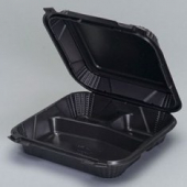 Genpak - Harvest Pro Container, Large Hinged, 3 Compartment, Black, 9.25x9.25x3