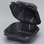Genpak - Harvest Pro Container, Medium Hinged Sandwich, Black, 6x6x3.25