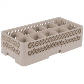 "Vollrath - Traex Glass Rack with 10 Compartments (Half Size), Fits 5.5"" Tall Glass, Beige Plastic"