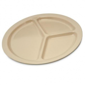 "Carlisle - Plate, 10"" 3-Compartment Tan Melamine"