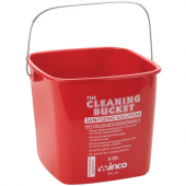 Winco - Cleaning Pail, 6 Quart Red for Sanitizing