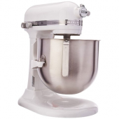 KitchenAid - Commerical Stand Mixer, 8 Quart White Stainess Steel with Bowl, Dough Hook, Flat Beater