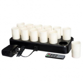 LeoLight - LED Votive E-Flame Hidden Candles, Includes 12 Candles, Recharge Tray, DC and Remote, War