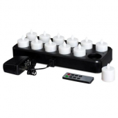 LeoLight - LED Votive E-Flame Exposed Tealights, Includes 12 Candles, Recharge Tray, DC and Remote,