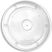 Hot Food Container Lid, Flat Clear, Fits 6-16 oz
