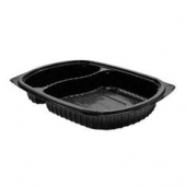 Anchor - MicroRaves Platter, 2 Compartment, Black Plastic