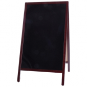 Winco - Sidewalk Marker Board, 25.25x45 Full Size Mahogany A-Frame Dual Sided, with 4 Markers and Er