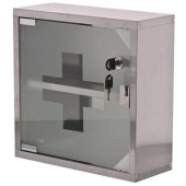 First Aid Kit Case, 12x12x4 Stainless Steel with Glass Door