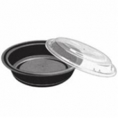 "Tripak - Food Container Combo, 6"" Round, 16 oz, Black Base with Clear Lid, Microwaveable"