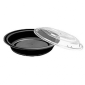 "Food Container, 7"" Round Black Plastic Base with Clear Dome Lid"