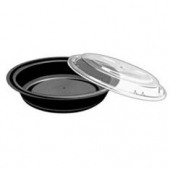 "Tripak - Food Container Combo, 7"" Round, 24 oz, Black Base with Clear Lid, Microwaveable"