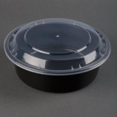 "Tripak - Food Container Combo, 7"" Deep Round, 32 oz, Black Base with Clear Lid, Microwaveable"