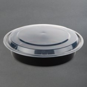 "Tripak - Food Container Combo, 9"" Round, 48 oz, Black Base with Clear Lid, Microwaveable"