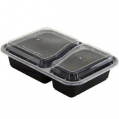 Tripak - Food Container Combo, 30 oz Rectangular with 2 Compartments, 6x8.5 Black Base with Clear Li