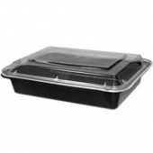 Tripak - Food Container Combo, 12 oz Rectangular, 5x4x1.5 Black Base with Clear Lid, Microwaveable