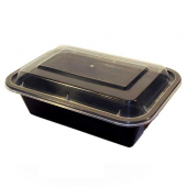 Tripak - Food Container Combo, 24 oz Deep Rectangular Plastic, 7x5 Black Base with Clear Lid, Microw