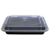Tripak - Food Container Combo, 38 oz Rectangular, 8x6x2 Black Base with Clear Lid, Microwaveable