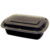 Tripak - Food Container Combo, 38 oz Deep Rectangular Plastic, 8x6 Black Base with Clear Lid, Microw