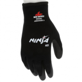 MCR Safety - Ninja Ice Glove, Large 15 Gauge Black Nylon with Acrylic Terry Interior, HPT Palm and F