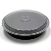 "Pactiv - Food Container, 48 oz 9"" Black Plastic Base with Clear Lid"