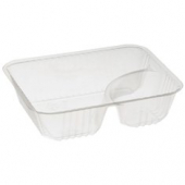 Dart - Nacho Tray with 2 Compartments, 9.7 oz, 5x6 Clear Plastic
