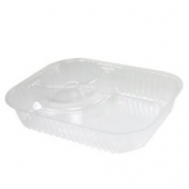 Dart - Nacho Tray with 2 Compartments, 19.1 oz, 8x6 Clear Plastic