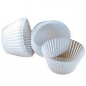 "Baking Cup, White Round Fluted, 1.5"" bottom, 1"" wall"