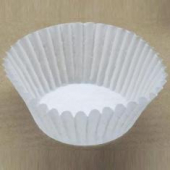 "Baking Cup, White Round Fluted, 2"" bottom, 1.25"" wall"