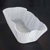 "Baking Cup/Loaf Liner, White Oblong Fluted, 6.875x2.875 bottom, 2.25"" wall"